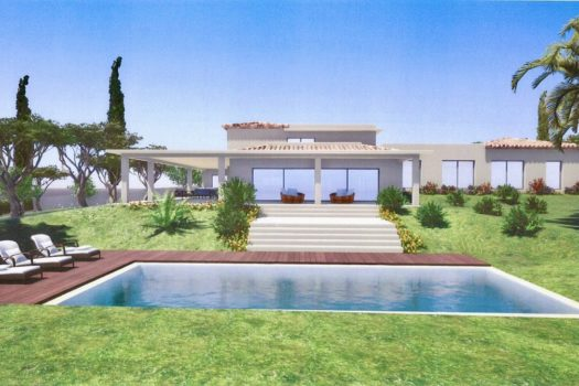 Contemporary villa with panoramic sea view in a gated domain